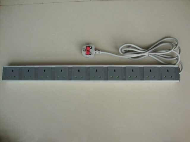 Universal 10 Outlets European Power Strip / Flat Plug Power Bar 250V 13A