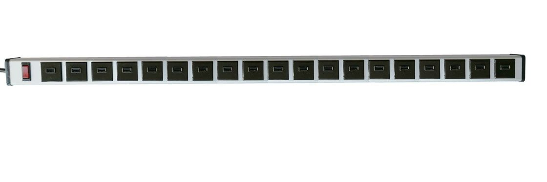 Universal 19 Multi Port USB Charging Power Strip With Surge Protection And Mounting Clips